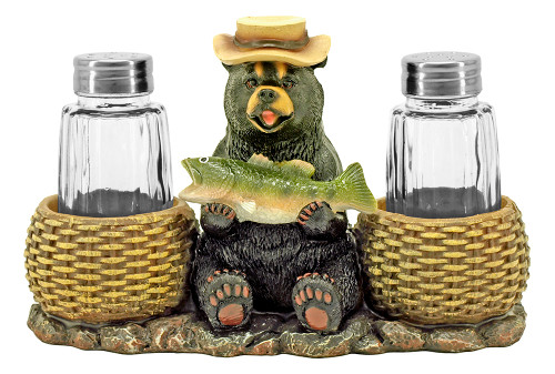 Bear with Fish Salt & Pepper Set