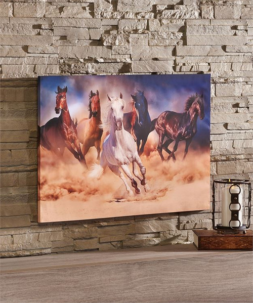 Herd of Horses Framed Canvas Print