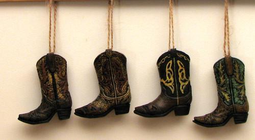 Cowboy Boot Ornaments, Set of 4