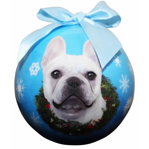 French Bulldog, White Ball Ornament