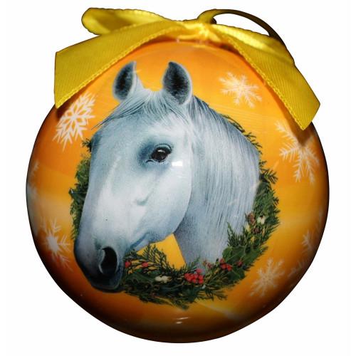 White Horse Ball Ornament