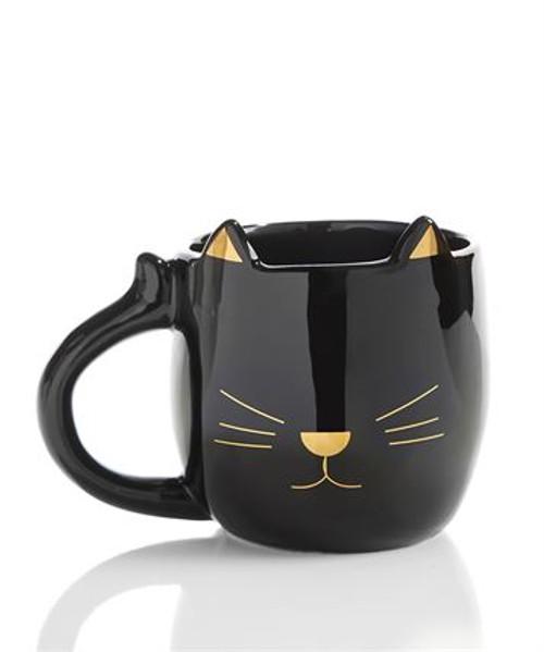 Black & Gold Cat Mug