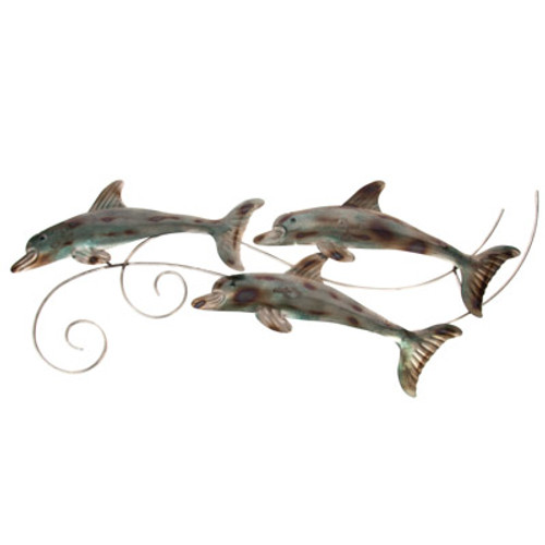 Triple Metal Dolphins Wall Décor
