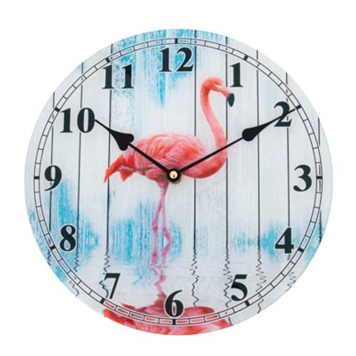 Glass Flamingo Wall Clock
