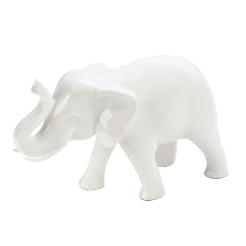 Sleek White Elephant Figurine