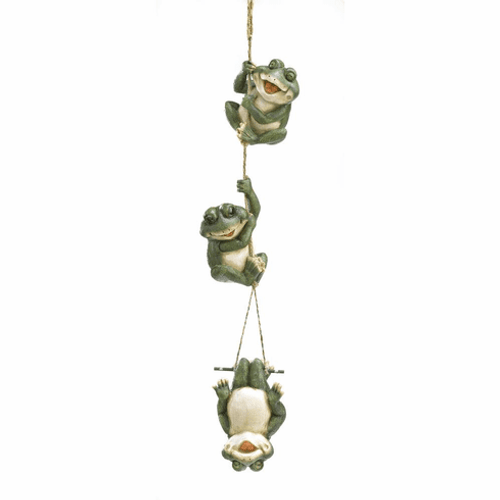 Frolicking Frogs Hanging Garden Decor