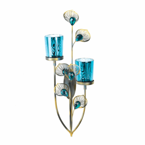Blue Peacock Plume Wall Sconce