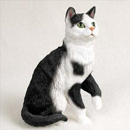 Black & White Tabby Cat Sitting Figurine