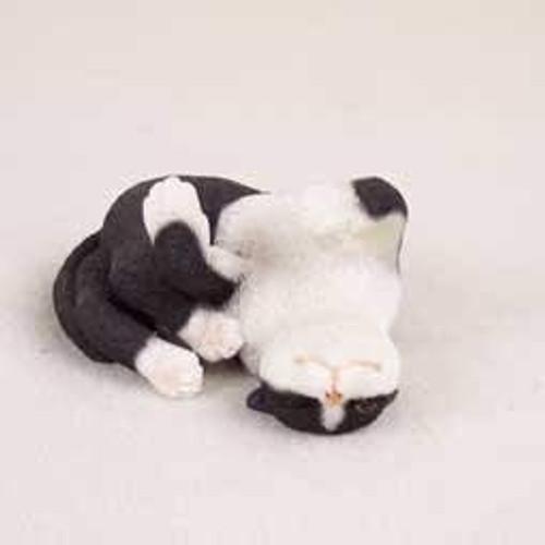 Black & White Tabby Cat Playing Figurine