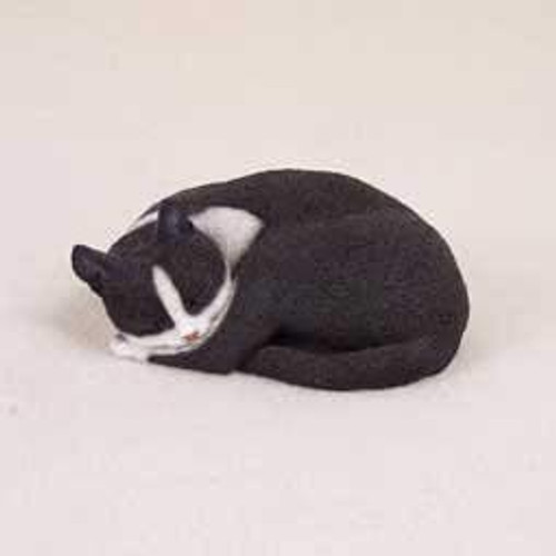 Black & White Tabby Cat Sleeping Figurine