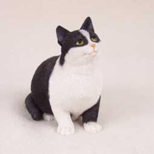 Black & White Tabby Cat Pregnant Figurine