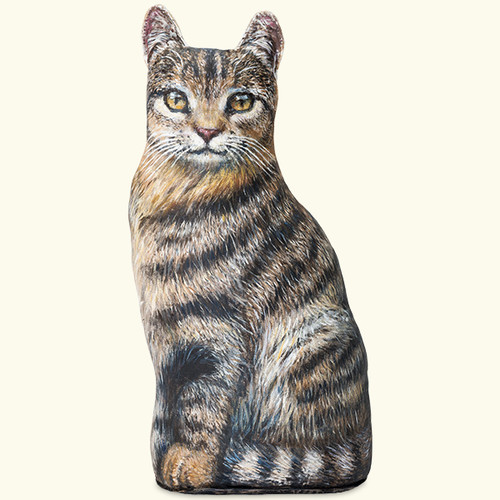 Brown Tabby Cat Sitting Door Stop