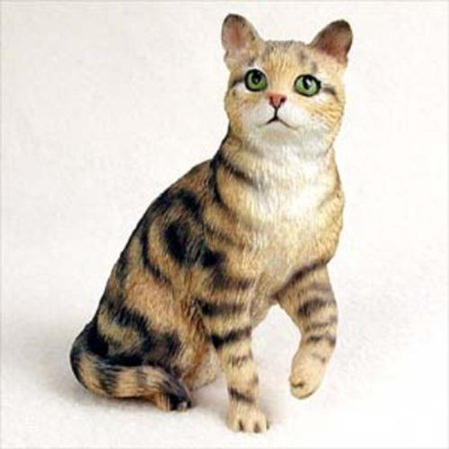 Brown Tabby Cat Sitting Figurine