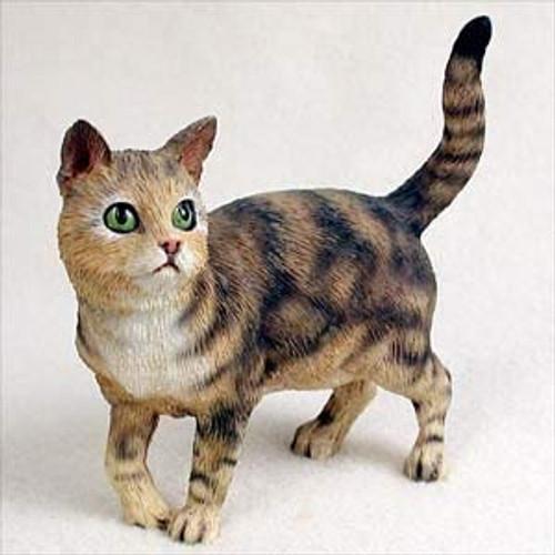 Brown Tabby Cat Standing Figurine