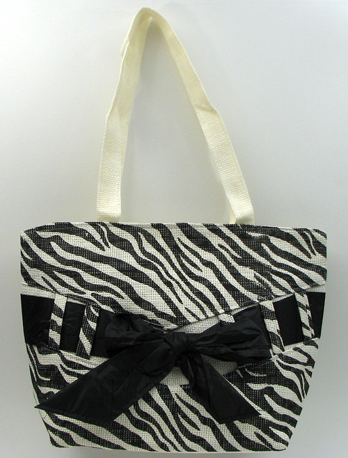 Zebra Print Straw Bag
