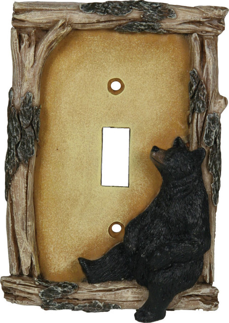 Black Bear Single Light Switch Cover