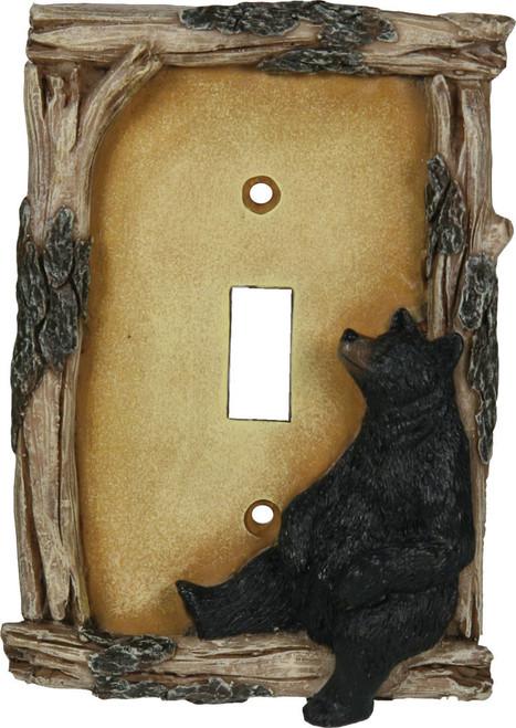 Black Bear Single Light Switch Cover