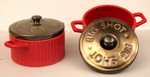 Red Shotgun Shell Soup Bowls, Set of 2