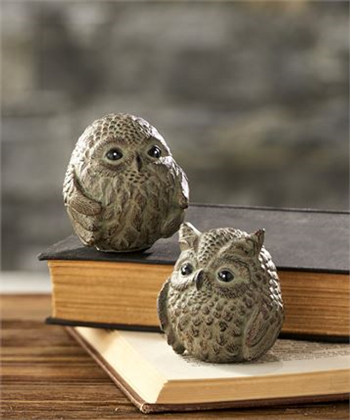 Gray Owl Figurines, Set of 2