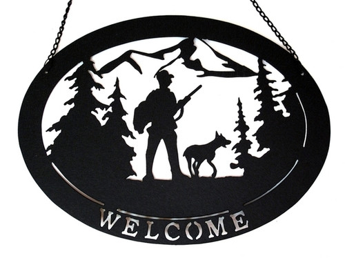 Hunter with Dog Welcome Sign