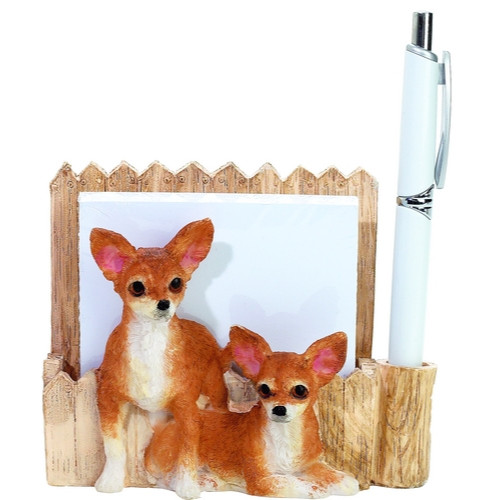 Chihuahua, Tan & White Mom & Pup Note Holder