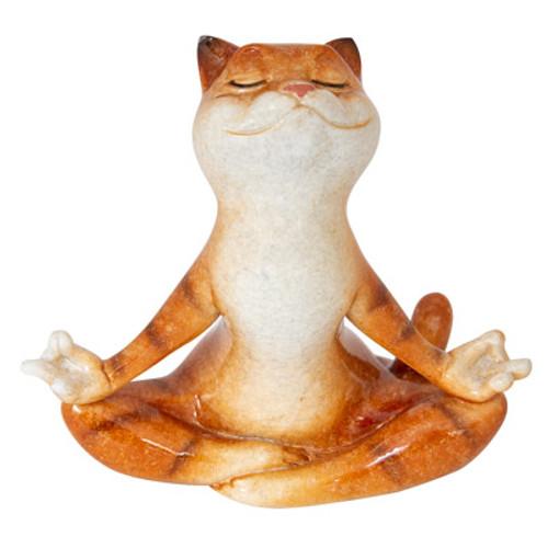 Meditating Orange Tabby Cat Figurine