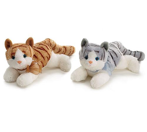 Gray & Brown Tabby Cat Plush Pair
