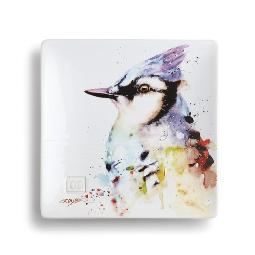 Watercolor Blue Jay Snack Plate
