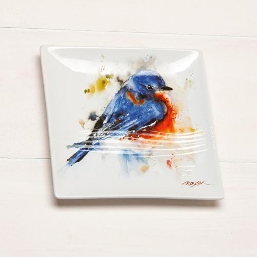 Watercolor Bluebird Snack Plate
