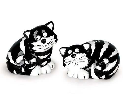 Black & White Striped Cat Salt & Pepper Shakers