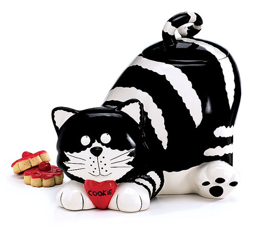 Black & White Striped Cat Cookie Jar