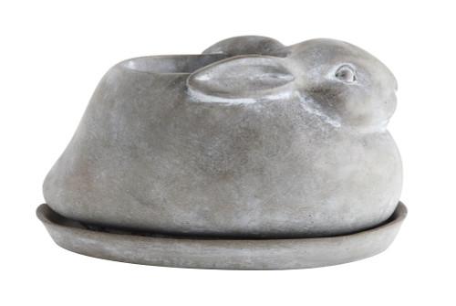 Cement Rabbit Planter, Set of 2