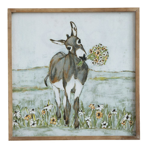 Donkey Wood Framed Canvas Print