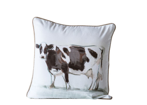 Brown & White Cow Accent Pillow