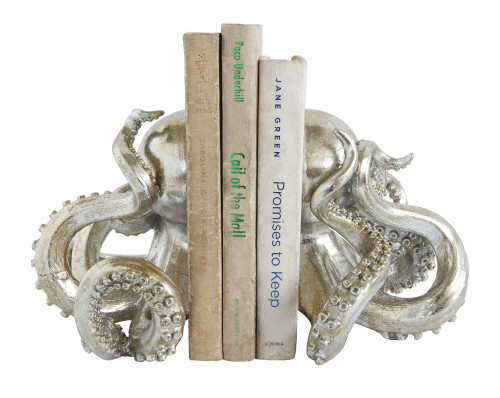 Silver Octopus Bookends