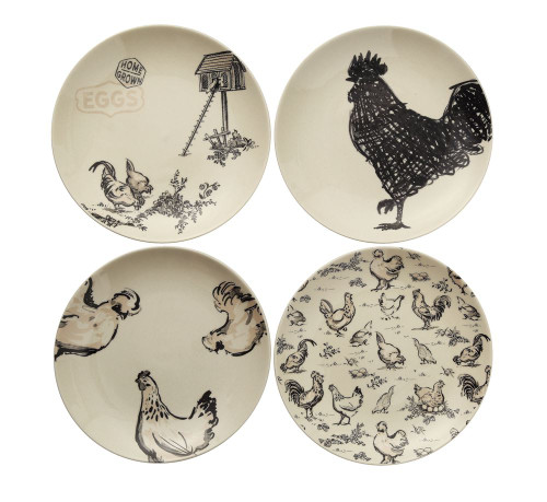 Rooster & Hen Plate Set