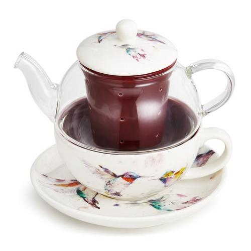 Watercolor Hummingbird Teapot & Mug Set