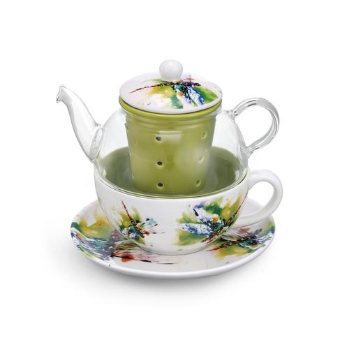 Watercolor Dragonfly Teapot Set