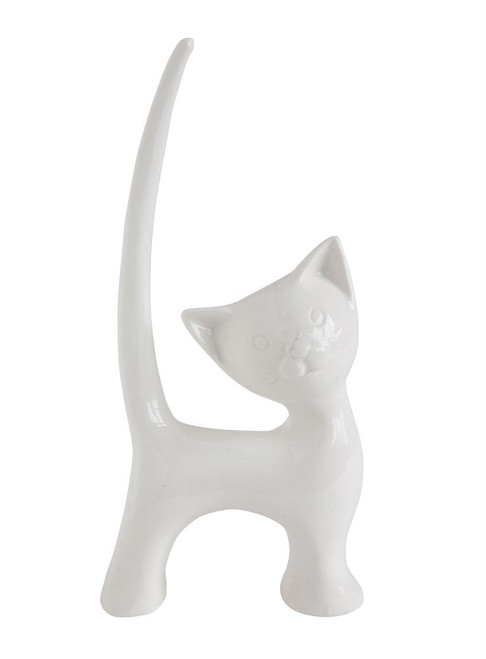 White Cat Ring Holder