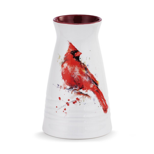 Watercolor Cardinal Vase