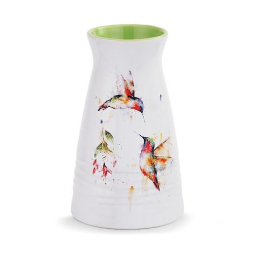 Watercolor Hummingbird Vase