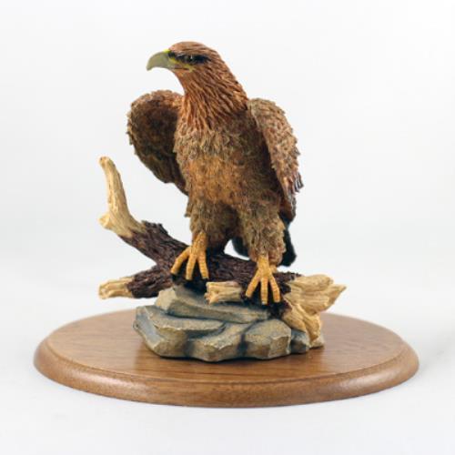 Golden Eagle Figurine on Wood Base