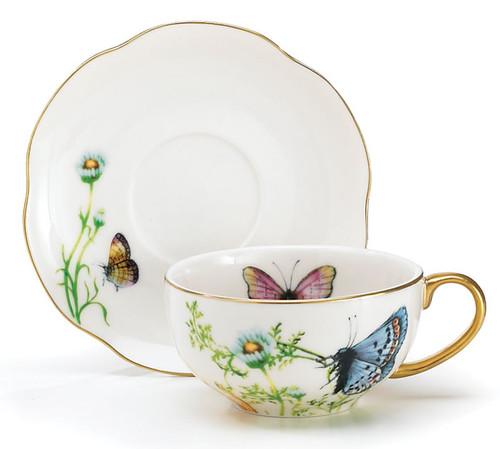 Porcelain Butterfly Teacup & Saucer