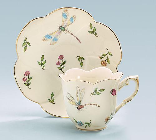 Porcelain Dragonfly Teacup & Saucer