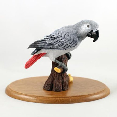 African Gray Parrot Figurine on Wood Base