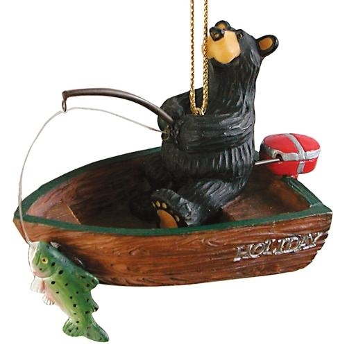 Black Bear Fishing in Boat Ornament