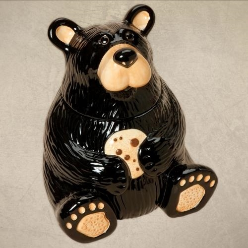 Shiny Black Bear Cookie Jar