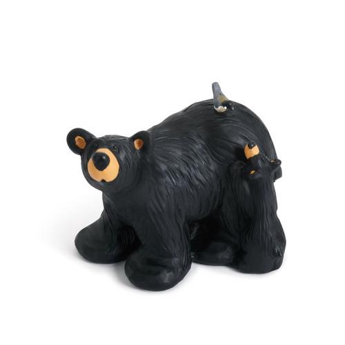 Black Bears & Chickadee Figurine