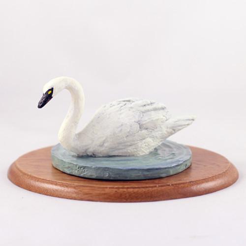 Swan Figurine on Wood Base