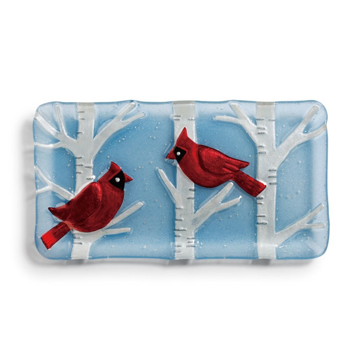 Cardinals on Birch Trees Platter